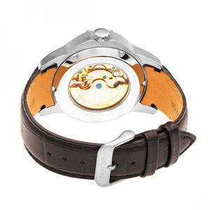 Heritor Automatic Windsor Semi-Skeleton Leather-Band Watch - Silver - HERHR4201