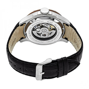 Heritor Automatic Belmont Skeleton Leather-Band Watch - Silver/Black - HERHR3902