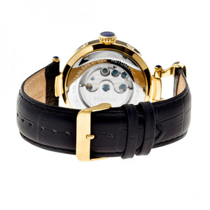 Heritor Automatic Ganzi Semi-Skeleton Leather-Band Watch - Gold/Silver - HERHR3303
