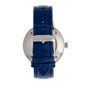 Heritor Automatic Jasper Skeleton Leather-Band Watch - Silver/Blue - HERHR8705