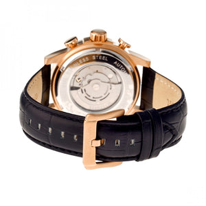 Heritor Automatic Kinser Leather-Band Watch w/Day/Date - Rose Gold/Black - HERHR2606