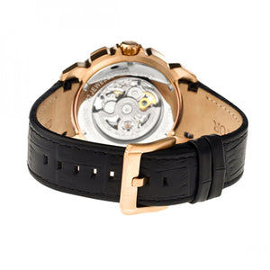 Heritor Automatic Conrad Skeleton Leather-Band Watch - Gold/Black - HERHR2506