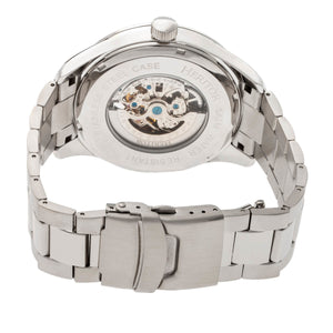 Heritor Automatic Crew Semi-Skeleton Bracelet Watch - Silver/Navy - HERHR7011