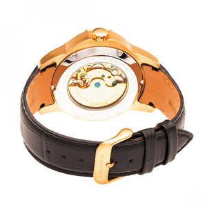 Heritor Automatic Windsor Semi-Skeleton Leather-Band Watch - Rose Gold/Silver - HERHR4205