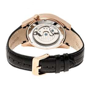 Heritor Automatic Alexander Semi-Skeleton Leather-Band Watch - Rose Gold/White - HERHR4905