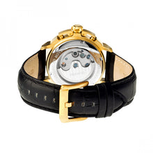 Load image into Gallery viewer, Heritor Automatic Lennon Semi-Skeleton Leather-Band Watch - Gold/Black - HERHR2804