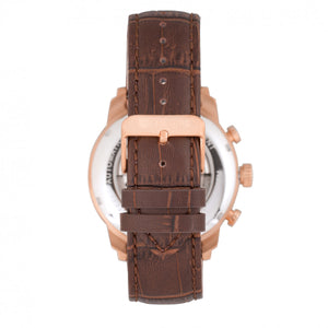 Heritor Automatic Arthur Semi-Skeleton Leather-Band Watch w/ Day/Date - Rose Gold/Black - HERHR7906