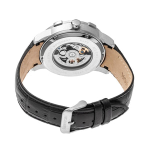 Heritor Automatic Callisto Semi-Skeleton Leather-Band Watch - Silver/Black - HERHR7202