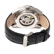 Load image into Gallery viewer, Heritor Automatic Daniels Semi-Skeleton Leather-Band Watch - Silver/Black - HERHR7403