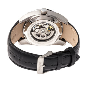 Heritor Automatic Daniels Semi-Skeleton Leather-Band Watch - Silver/Black - HERHR7403