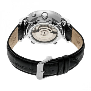 Heritor Automatic Edmond Leather-Band Watch w/Date - Silver - HERHR6201