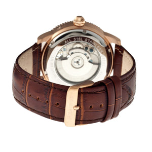 Heritor Automatic Piccard Semi-Skeleton Leather-Band Watch - Rose Gold/Silver - HERHR2005