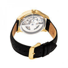 Load image into Gallery viewer, Heritor Automatic Winthrop Leather-Band Skeleton Watch - Gold/Black - HERHR7304