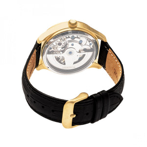 Heritor Automatic Winthrop Leather-Band Skeleton Watch - Gold/Black - HERHR7304