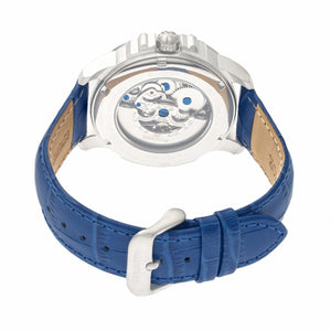 Heritor Automatic Bonavento Semi-Skeleton Leather-Band Watch - Silver/Blue - HERHR5603