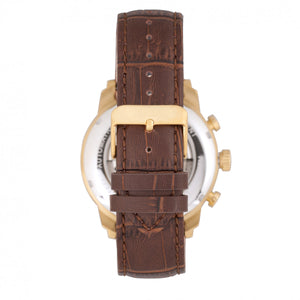 Heritor Automatic Arthur Semi-Skeleton Leather-Band Watch w/ Day/Date - Gold/Silver - HERHR7904