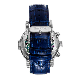 Heritor Automatic Legacy Leather-Band Watcch w/Day/Date - Silver/Blue - HERHR9702
