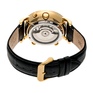 Heritor Automatic Edmond Leather-Band Watch w/Date - Gold/Black - HERHR6204