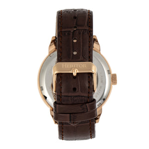 Heritor Automatic Sanford Semi-Skeleton Leather-Band Watch - Rose Gold/Brown - HERHR8304