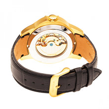 Load image into Gallery viewer, Heritor Automatic Windsor Semi-Skeleton Leather-Band Watch - Gold/Black - HERHR4204
