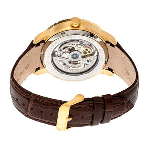Heritor Automatic Ryder Skeleton Leather-Band Watch - Brown/Gold - HERHR4605