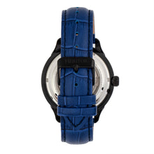 Load image into Gallery viewer, Heritor Automatic Harding Semi-Skeleton Leather-Band Watch - Black/Blue - HERHR9005