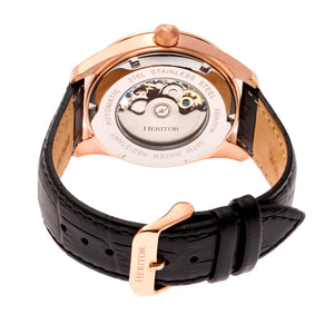 Heritor Automatic Stanley Semi-Skeleton Leather-Band Watch - Rose Gold/Black - HERHR6506