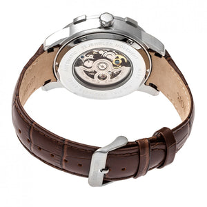 Heritor Automatic Callisto Semi-Skeleton Leather-Band Watch - Silver - HERHR7203