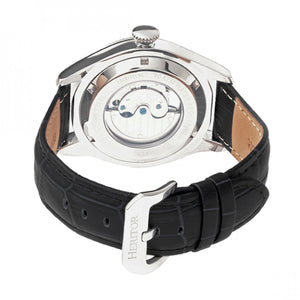 Heritor Automatic Barnes Leather-Band Watch w/Date - Silver - HERHR7101