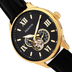 Heritor Automatic Harding Semi-Skeleton Leather-Band Watch - Gold/Black - HERHR9004