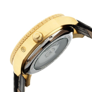 Heritor Automatic Piccard Semi-Skeleton Leather-Band Watch - Gold/Black - HERHR2004