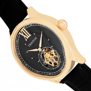 Heritor Automatic Hayward Semi-Skeleton Leather-Band Watch - Gold/Black - HERHR9404