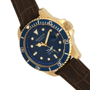 Heritor Automatic Lucius Leather-Band Watch w/Date - Gold/Blue - HERHR7810