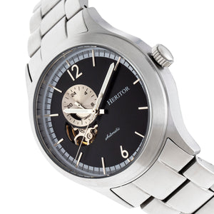 Heritor Automatic Antoine Semi-Skeleton Bracelet Watch - Silver/Black - HERHR8502