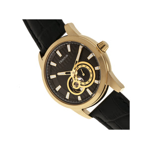 Heritor Automatic Davidson Semi-Skeleton Leather-Band Watch - Gold/Black - HERHR8005