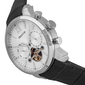 Heritor Automatic Arthur Semi-Skeleton Leather-Band Watch w/ Day/Date - Silver - HERHR7901