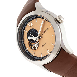 Heritor Automatic Antoine Semi-Skeleton Leather-Band Watch - Silver/Tan - HERHR8505