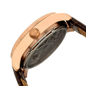 Heritor Automatic Winthrop Leather-Band Skeleton Watch - Rose Gold/Silver - HERHR7305