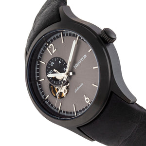 Heritor Automatic Antoine Semi-Skeleton Leather-Band Watch - Black/Charcoal - HERHR8508