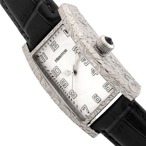 Heritor Automatic Jefferson Leather-Band Watch - Silver/White - HERHR8802