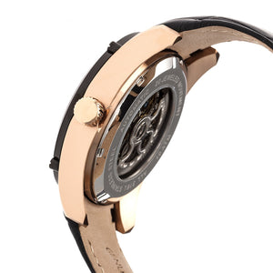 Heritor Automatic Daniels Semi-Skeleton Leather-Band Watch - Rose Gold/Black - HERHR7406