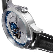 Load image into Gallery viewer, Heritor Automatic Oscar Semi-Skeleton Leather-Band Watch - Silver & Blue/Black - HERHS1004
