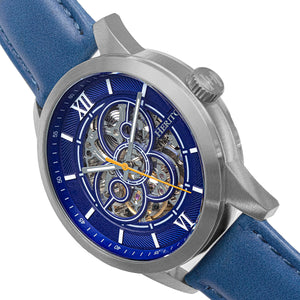 Heritor Automatic Jonas Leather-Band Skeleton Watch - Silver/Blue - HERHR9503