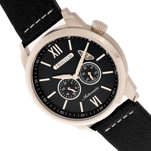Heritor Automatic Wellington Leather-Band Watch - Silver/Black - HERHR8201