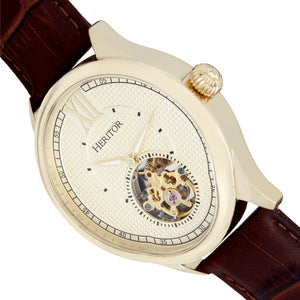 Heritor Automatic Hayward Semi-Skeleton Leather-Band Watch - Gold - HERHR9405
