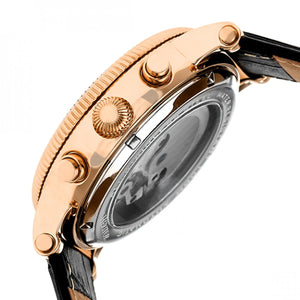 Heritor Automatic Winston Semi-Skeleton Leather-Band Watch - Rose Gold/Black - HERHR5206