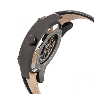Heritor Automatic Daniels Semi-Skeleton Leather-Band Watch - Black - HERHR7407