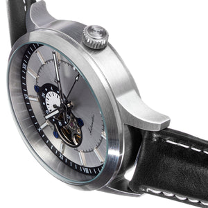 Heritor Automatic Oscar Semi-Skeleton Leather-Band Watch - Silver/Black - HERHS1002