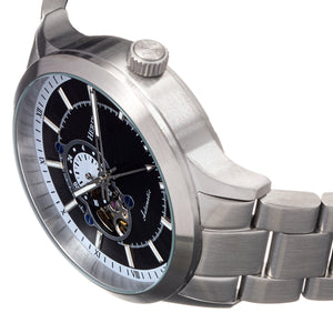 Heritor Automatic Oscar Semi-Skeleton Bracelet Watch - Black/Silver - HERHS1006