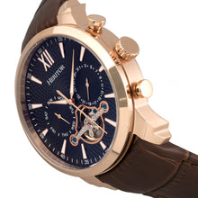 Load image into Gallery viewer, Heritor Automatic Arthur Semi-Skeleton Leather-Band Watch w/ Day/Date - Rose Gold/Black - HERHR7906
